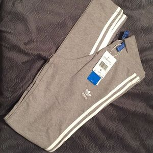 Grey and white double lined Adidas pants size S